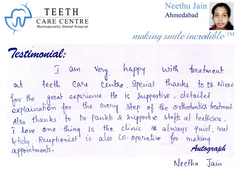no 1 orthodontist ahmedabad nirav patel teeth care centre pankti patel aligner treatment invisalign braces specialist dental clinic dentist review testimonial treatment (12)