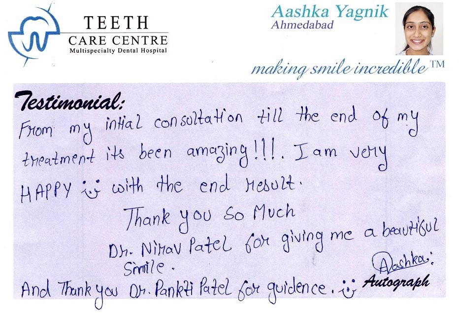no 1 orthodontist ahmedabad nirav patel teeth care centre pankti patel aligner treatment invisalign braces specialist dental clinic dentist review testimonial treatment (4)