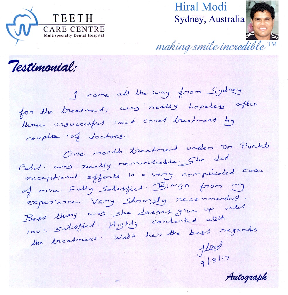 Testimonial ahmedabad teeth care centre review patient satisfaction - root canal treatment